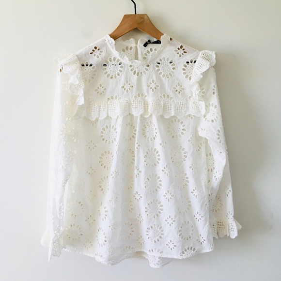 03e956e8ce Zara Tops | Nwt White Eyelet Long Sleeve Top Sz Small | Poshmark